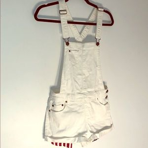 White Denim Overall Shorts